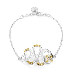 Satinated Snake Sterling Silver 18K Yellow Gold White Topaz Bracelet