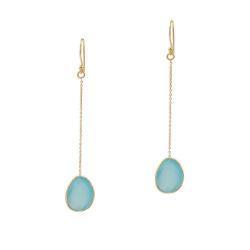 Blue Chalcedony Gold Over Silver Long Earrings