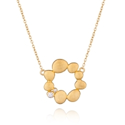Sterling Silver Pebbles Circle Necklace with 14K Gold and White Sapphires