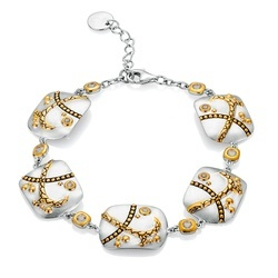 Sterling Silver Crossroads Bracelet with 18K Gold and White Topaz