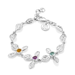 Sterling Silver Hydrangea Flowers Bracelet with Citrine, Blue Topaz and Amethyst