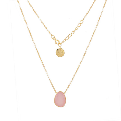 Pink Chalcedony Single Pebble Gold Over Silver Necklace