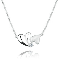 Sterling Silver Two-Toned Hearts White Topaz Necklace