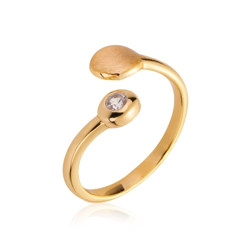 Adjustable Sterling Silver Pebbles Ring with 14K Gold and White Sapphire