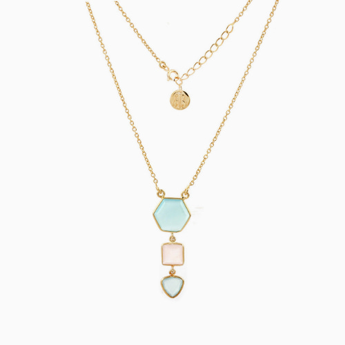 Blue and Pink Chalcedony Triple Dangle Gold Over Sterling Silver Necklace