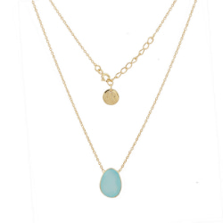 Blue Chalcedony Single Pebble Gold Over Silver Necklace