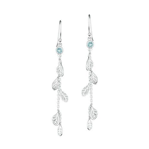 Cascading Sterling Silver Hydrangea Petals Earrings with Blue Topaz