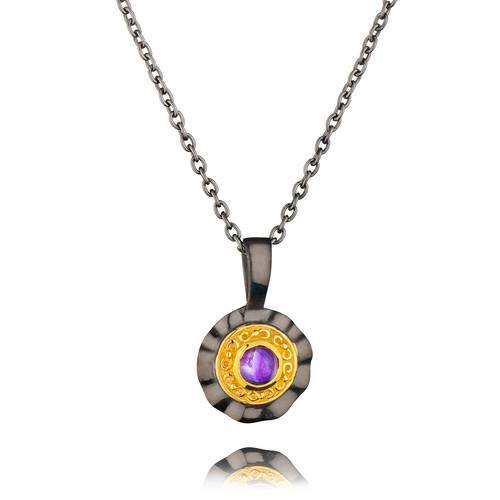 Black Rhodium Yellow 18K Gold Plated Sterling Silver Amethyst Necklace