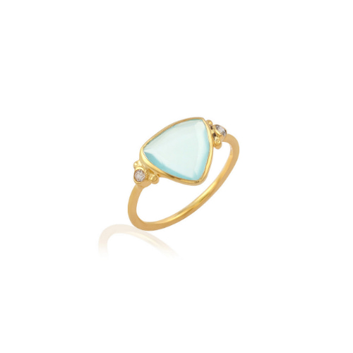 Blue Chalcedony Diamond Shape Gold Over Sterling Silver Ring