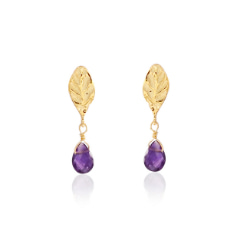 Single Leaf Amethyst Briolette Gold Over Sterling Silver Earrings