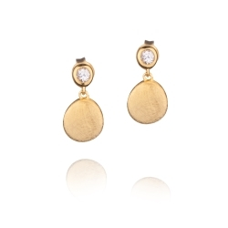 Sterling Silver Pebbles Earring with 14K Gold and White Sapphire