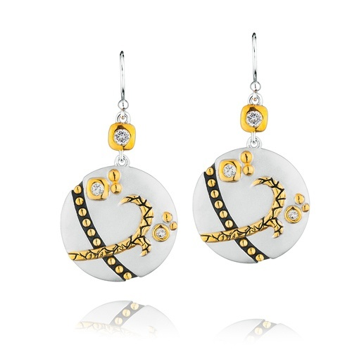 Round Sterling Silver Crossroads Earrings with 18K Gold and White Topaz