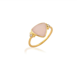 Pink Chalcedony Diamond Shape Gold Over Sterling Silver Ring